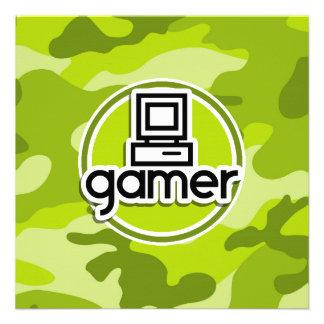 Gamer camo vert clair camouflage invitations