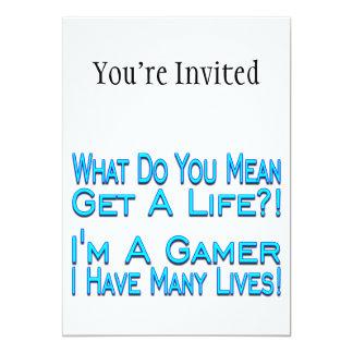 Gamer de beaucoup de vies carton d'invitation  12,7 cm x 17,78 cm