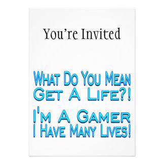 Gamer de beaucoup de vies invitations