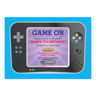 Gamer de fête d'anniversaire de jeu vidéo sur carton d'invitation  12,7 cm x 17,78 cm