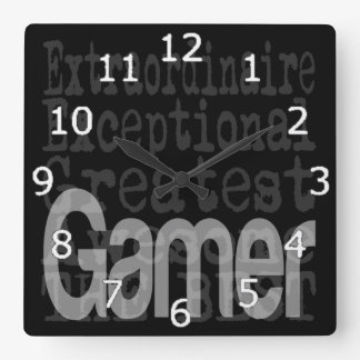 Gamer Extraordinaire Square Wall Clock