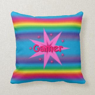 Gamer Girl Rainbow Throw Pillow