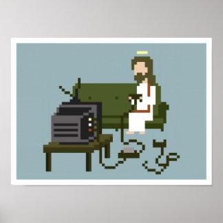 Gamer Jesus Pixel Art Poster