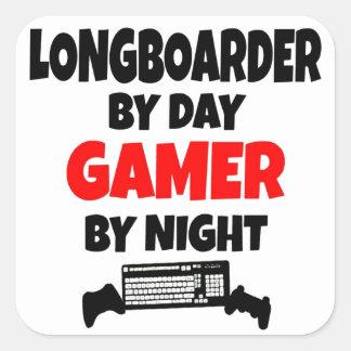 Gamer Longboarder Square Sticker