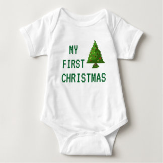 Gamer My First Christmas Pixel Tree Baby Bodysuit