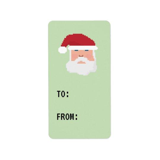 Gamer Pixel 8bit Santa Label Gift Tag