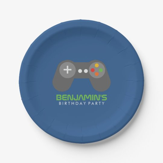 Gamer Themed Kids Birthday Party 7 Inch Paper Plate