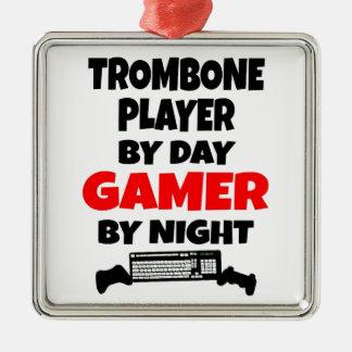 Gamer Trombone Player Silver-Colored Square Ornament