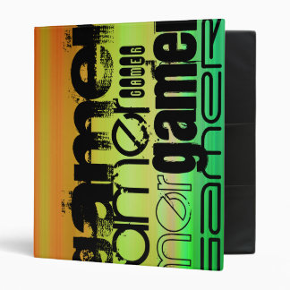 Gamer; Vibrant Green, Orange, & Yellow Vinyl Binder
