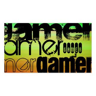 Gamer; Vibrant Green, Orange, & Yellow Business Card