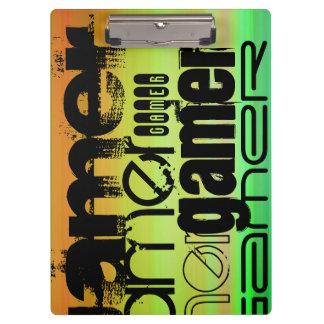 Gamer; Vibrant Green, Orange, & Yellow Clipboard