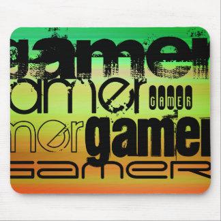 Gamer; Vibrant Green, Orange, & Yellow Mouse Pad