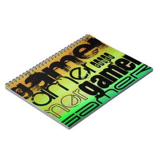 Gamer; Vibrant Green, Orange, & Yellow Notebook