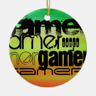 Gamer; Vibrant Green, Orange, & Yellow Round Ceramic Ornament