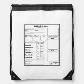 Gaming Character Sheet Sling Backpack