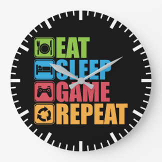 Gaming - Eat, Sleep, Game, Repeat - Gamer, Funny Large Clock