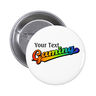 Gaming in Rainbow Colors, Add text 2 Inch Round Button