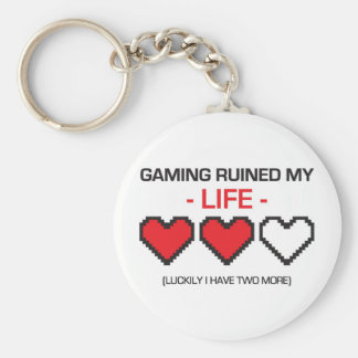 GAMING RUINED MY LIFE! BASIC ROUND BUTTON KEYCHAIN