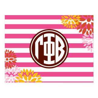 Gamma Phi Beta | Monogram Stripe Pattern Postcard