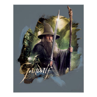 Gandalf With Staff And Sword Perfect Poster