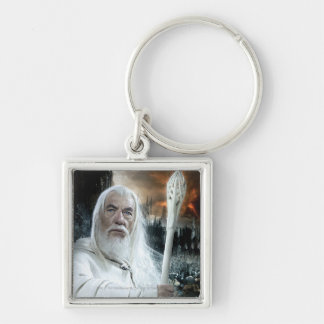 Gandalf with Staff Silver-Colored Square Keychain