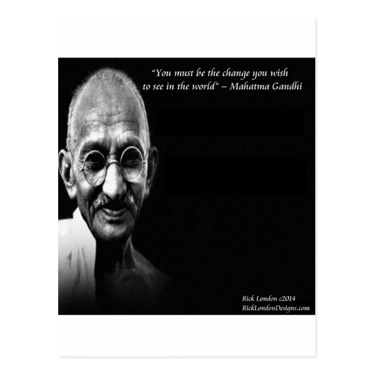 Gandhi Be The Change Wisdom Quote Postcard