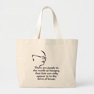 Gandhi Hunger Large Tote Bag