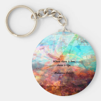 Gandhi Inspirational Quote about Love, Life & Hope Keychain