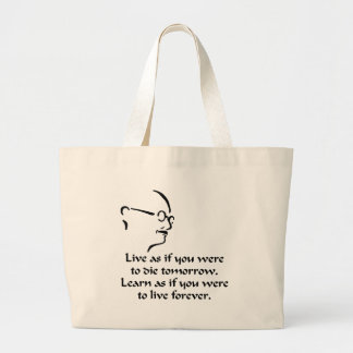 Gandhi Live and Learn Large Tote Bag