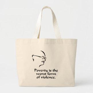 Gandhi Poverty Large Tote Bag