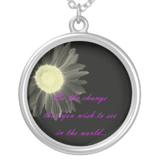 Gandhi Quote Silver Plated Necklace