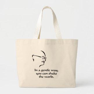 Gandhi Shake the World Large Tote Bag