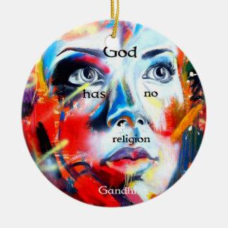 Gandhi Spiritual Quotation God Has No Religion Ceramic Ornament
