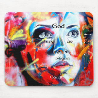 Gandhi Spiritual Quotation God Has No Religion Mouse Pad