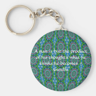 Gandhi Wisdom Quote With Primitive Tribal Design Keychain