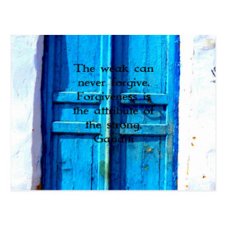 Gandhi Wisdom Quote with Vintage Blue Greek Door Postcard