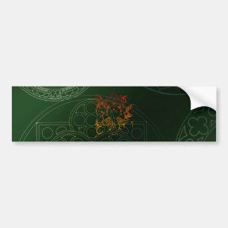 Ganesh Elephant Mandala orange green Yoga Asia Bumper Sticker