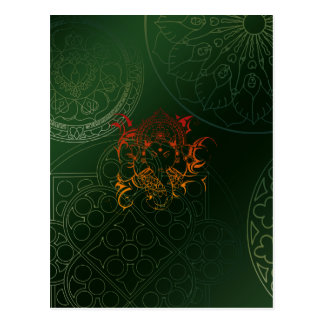 Ganesh Elephant Mandala orange green Yoga Asia Postcard