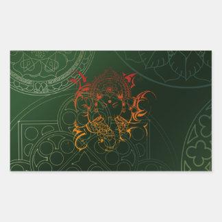 Ganesh Elephant Mandala orange green Yoga Asia Sticker