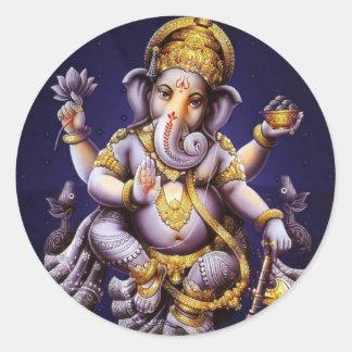 Ganesh Ganesha Hindu India Asian Elephant Deity Round Sticker
