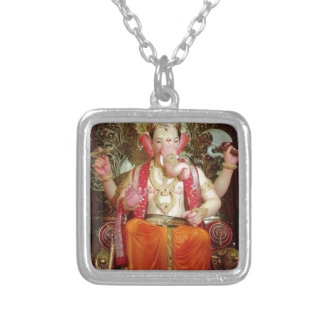 Ganesh Ganesha Hindu India Asian Elephant Deity Silver Plated Necklace
