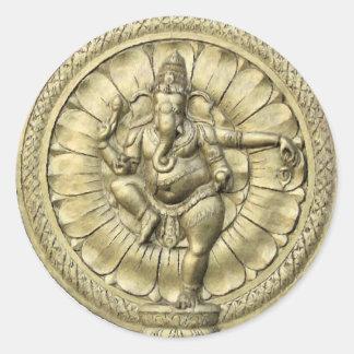 Ganesh (Golden) Round Stickers