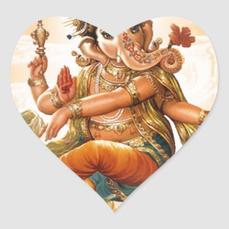 GANESH HINDU GOD HEART STICKER