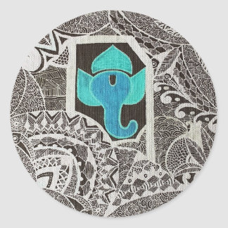 Ganesh - intricate white classic round sticker