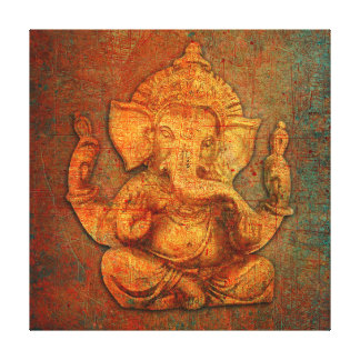 Ganesh On A Distress Stone Background Canvas Print