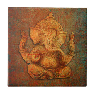 Ganesh On A Distress Stone Background Tile