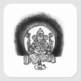 ganesh square sticker