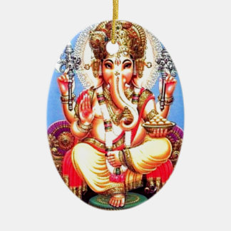 Ganesha (गणेश) Indian Elephant Ceramic Ornament