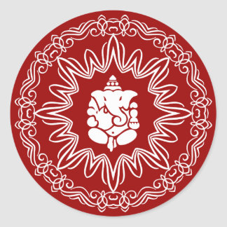 Ganesha Decorative Design Classic Round Sticker