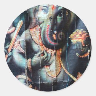 Ganesha elephant Hindu Success God Round Sticker